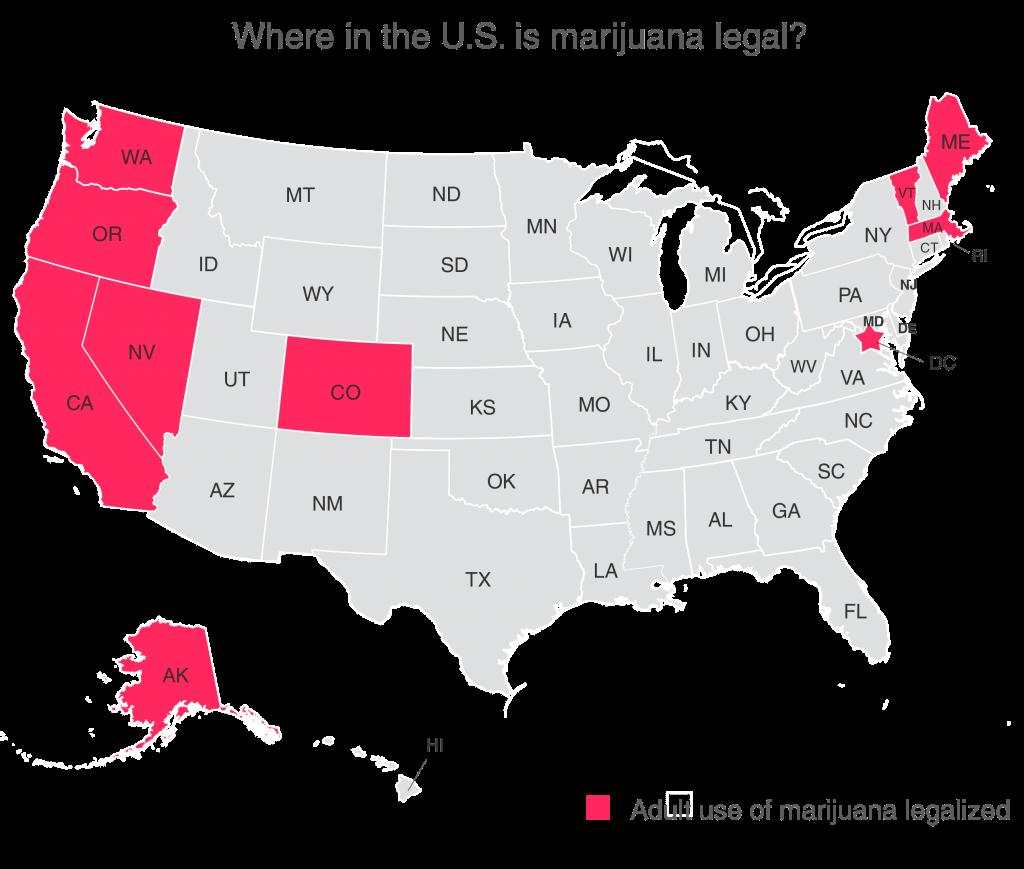 US map with legalized marijuana states
