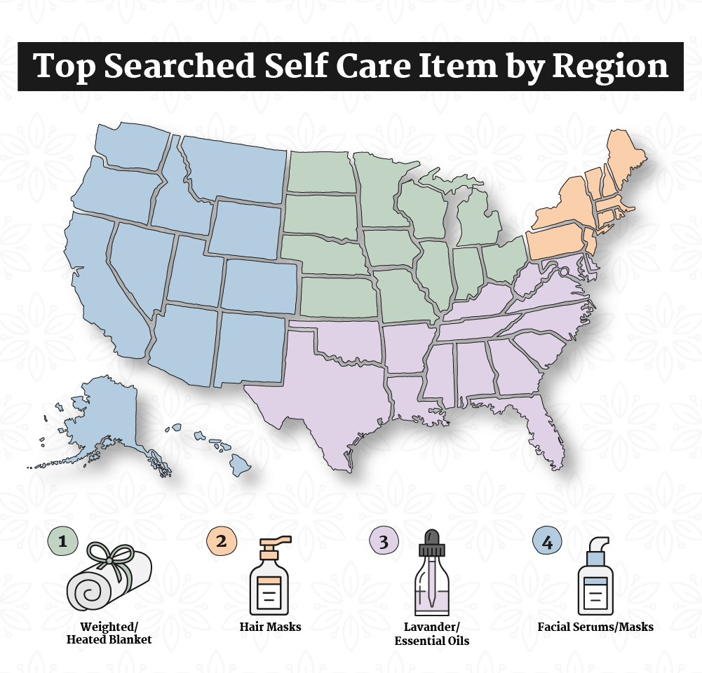 The Top-Searched Self-Care Item by State Regional Map