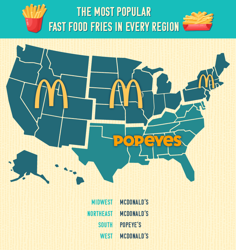 US map outlining the most popular fast food fries by region