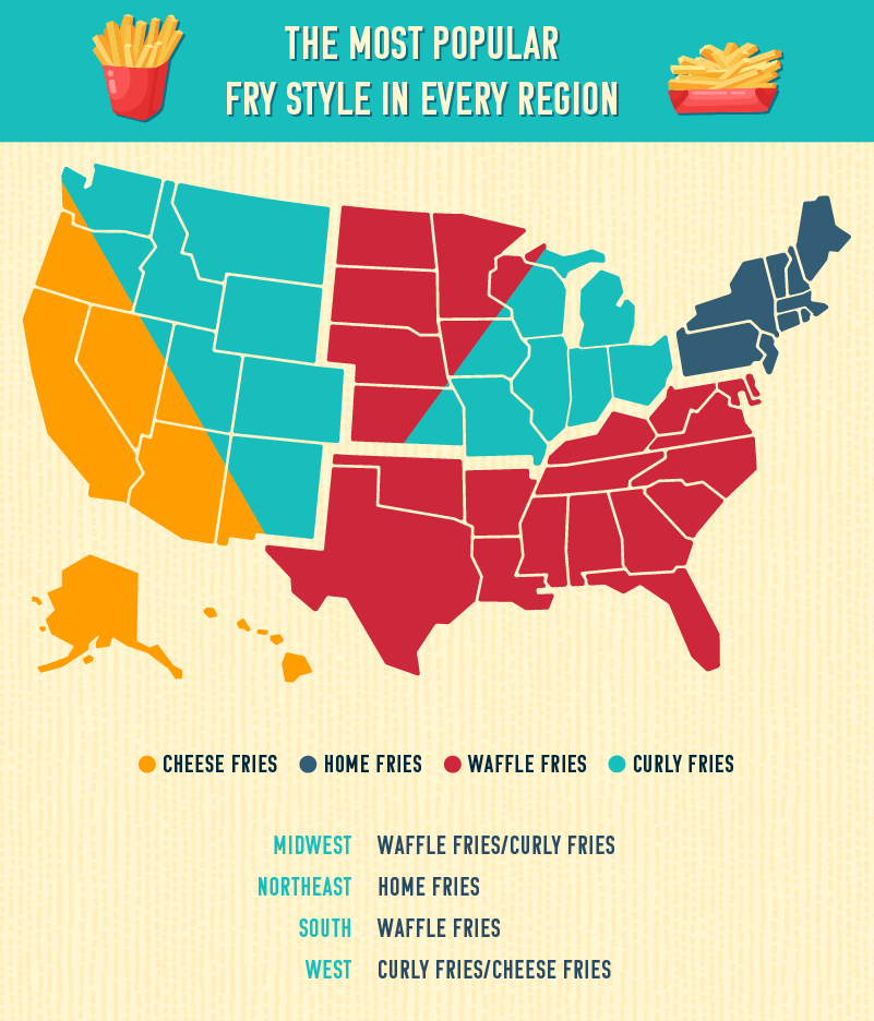 US map outlining the most popular fry style by region